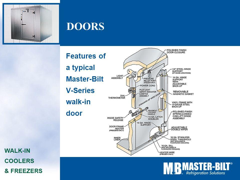11 doors walk-in coolers & freezers features of a typical master-bilt  v-series walk-in door