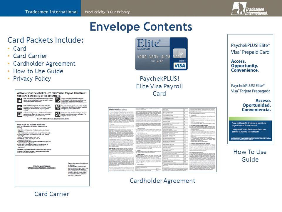 14 envelope contents paychekplus elite visa payroll card - Visa Payroll Card