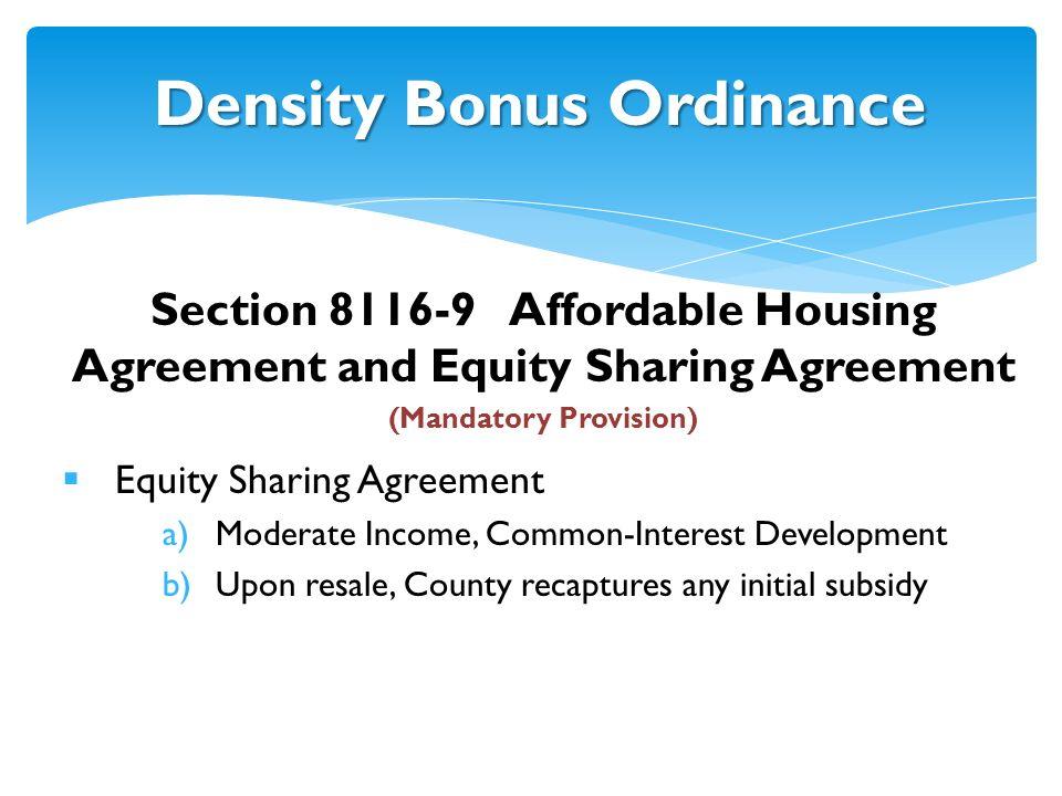 Density Bonus Ordinance Housing Element Planning Commission