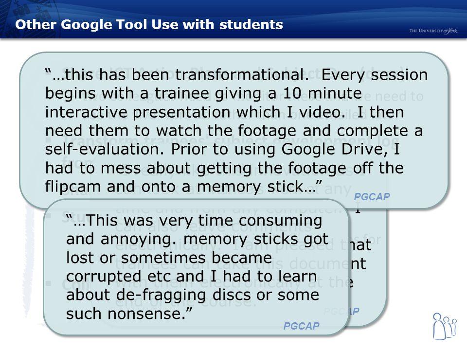 Google Portfolios and Google Tools University of York, UK Wayne ...