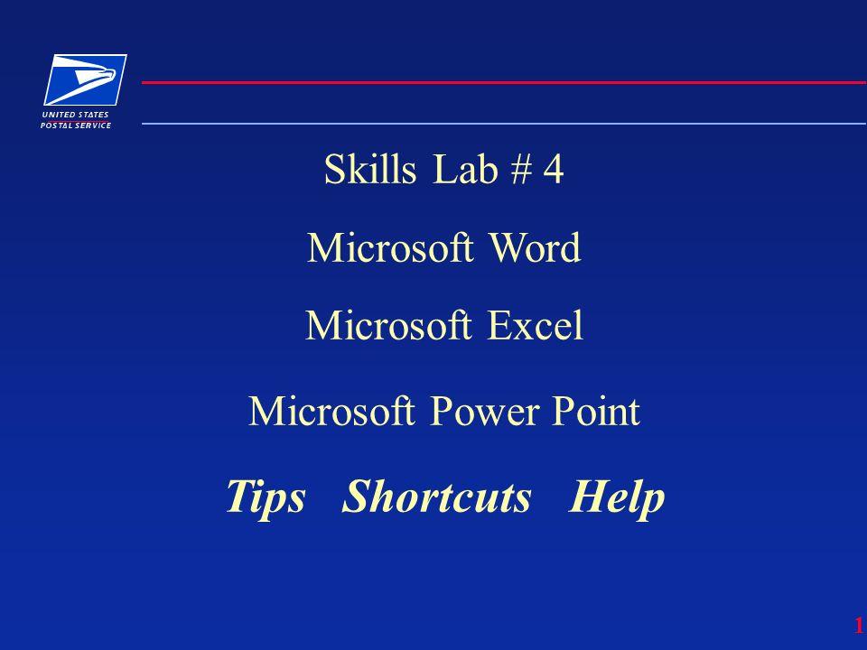1 Skills Lab # 4 Microsoft Word Microsoft Excel Microsoft Power