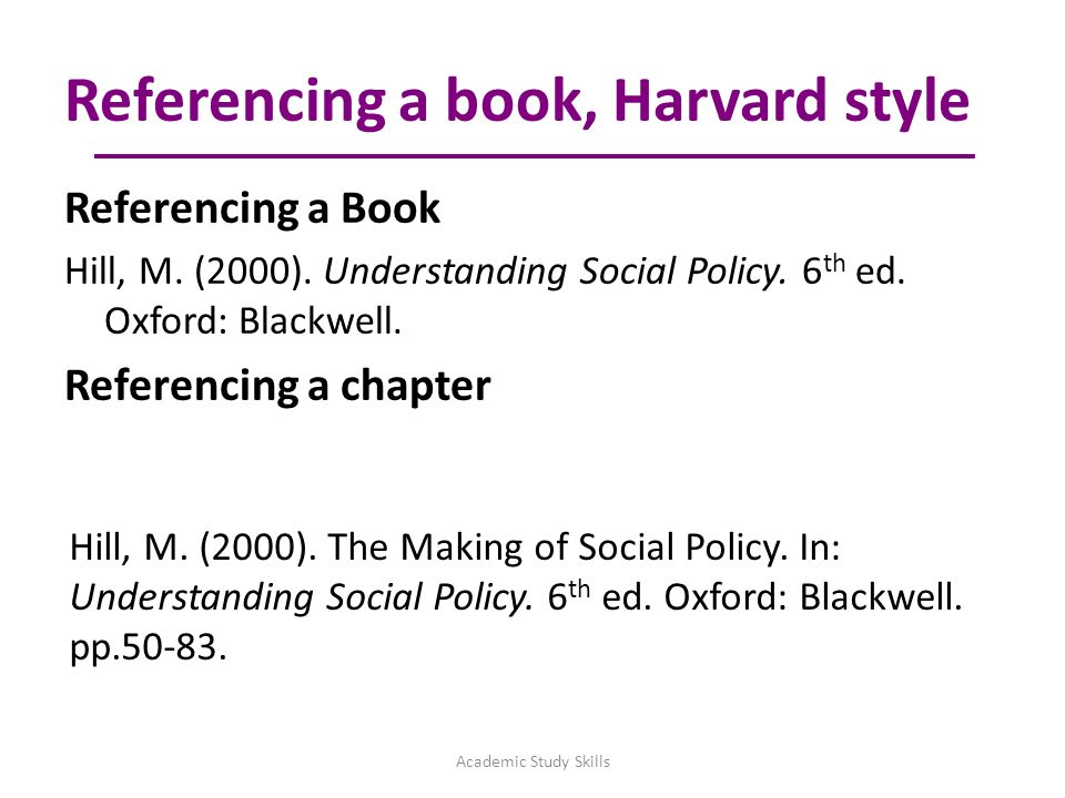 Referencing skills academic study skills aims of session are to 10 referencing a book harvard ccuart Images