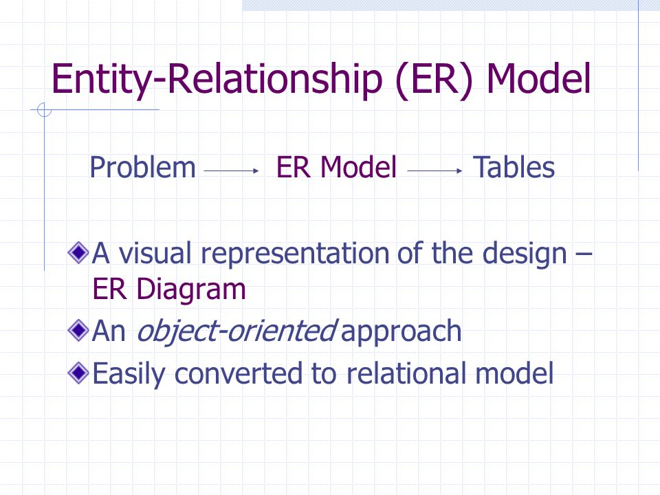 Cs422 principles of database systems entity relationship model er model a visual representation of the design er diagram an object oriented approach easily converted to relational model problemtableser model ccuart Choice Image
