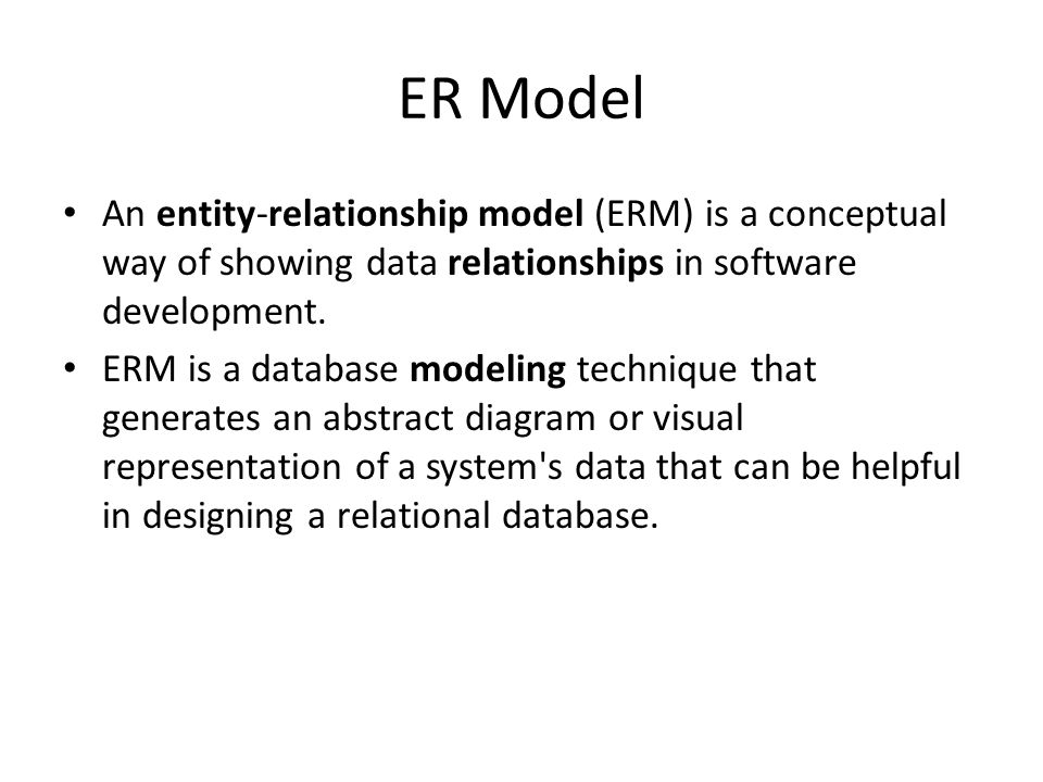 Entity relationship diagram erd background peter chen developed er model an entity relationship model erm is a conceptual way of showing ccuart Choice Image