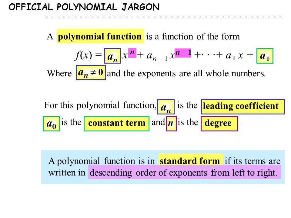 A Polynomial Function Is A Function Of The Form F X A N X N