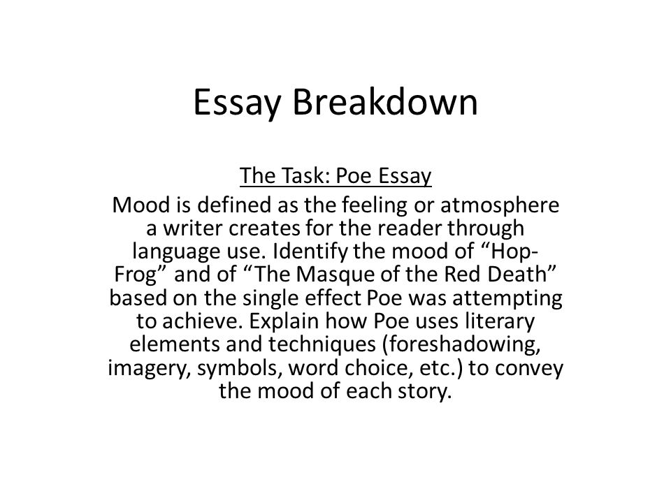 How To Write A Synthesis Essay  Essay Breakdown The Task Poe  English Class Essay also Essay Topics For High School English Essay Breakdown The Task Poe Essay Mood Is Defined As The Feeling  How To Write A Thesis For A Persuasive Essay