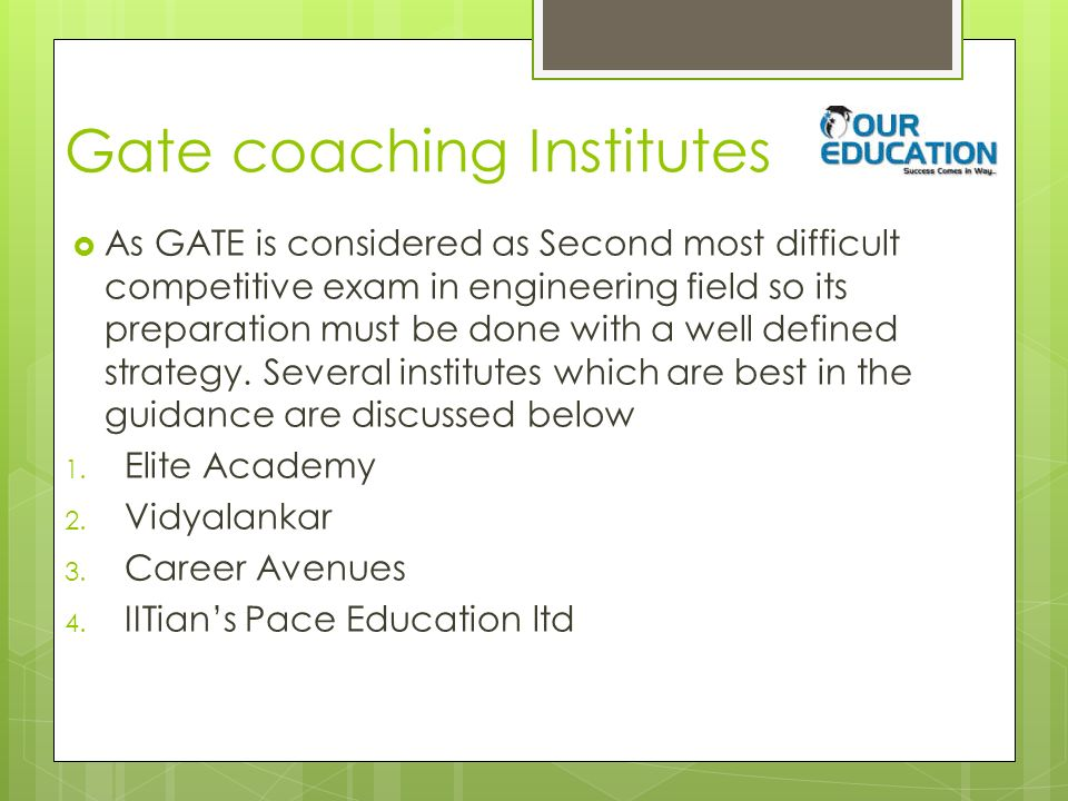Gate coaching Institutes  As GATE is considered as Second most difficult competitive exam in engineering field so its preparation must be done with a well defined strategy.