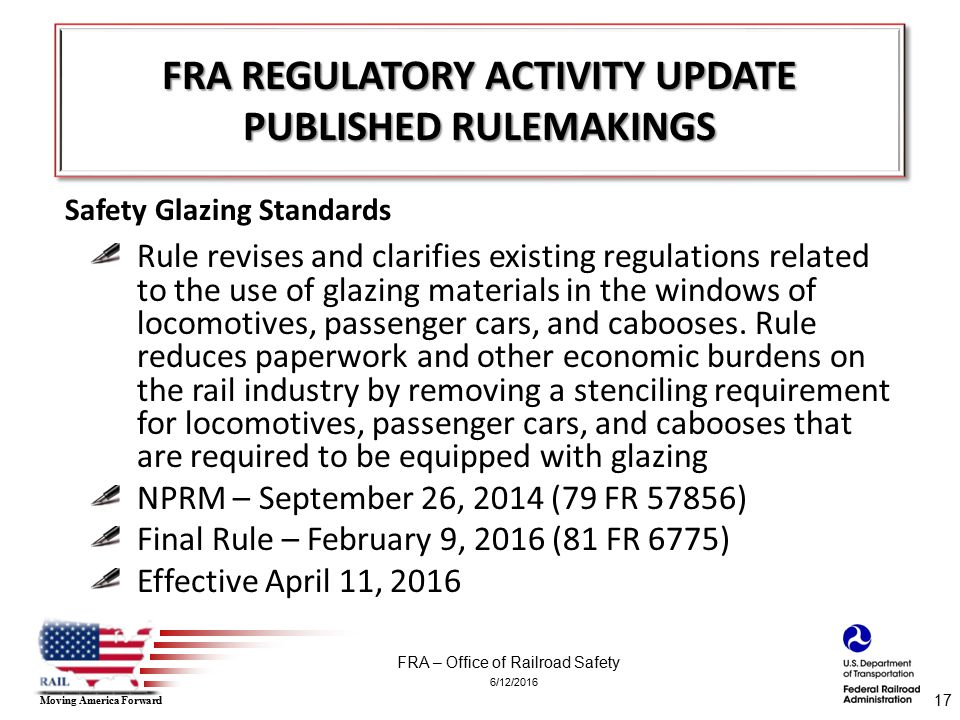 6/12/2016 FRA – Office of Railroad Safety Moving America