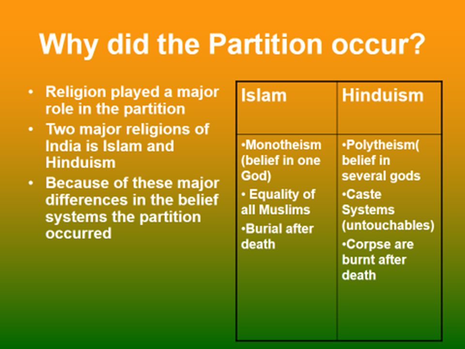 why did the partition of india happen