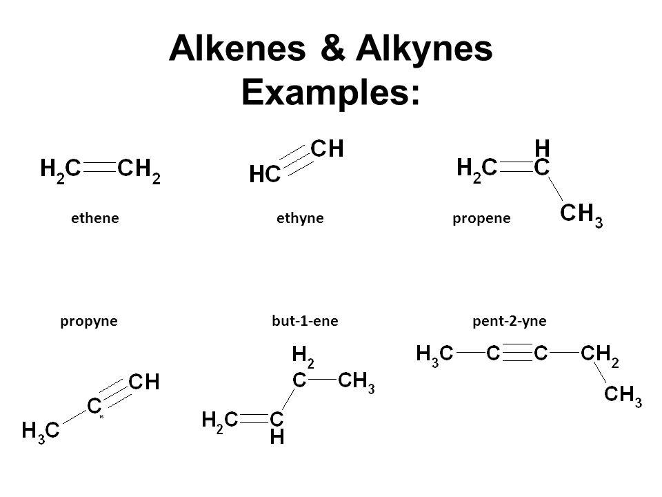 Alkanes vs. Alkenes vs. Alkynes.