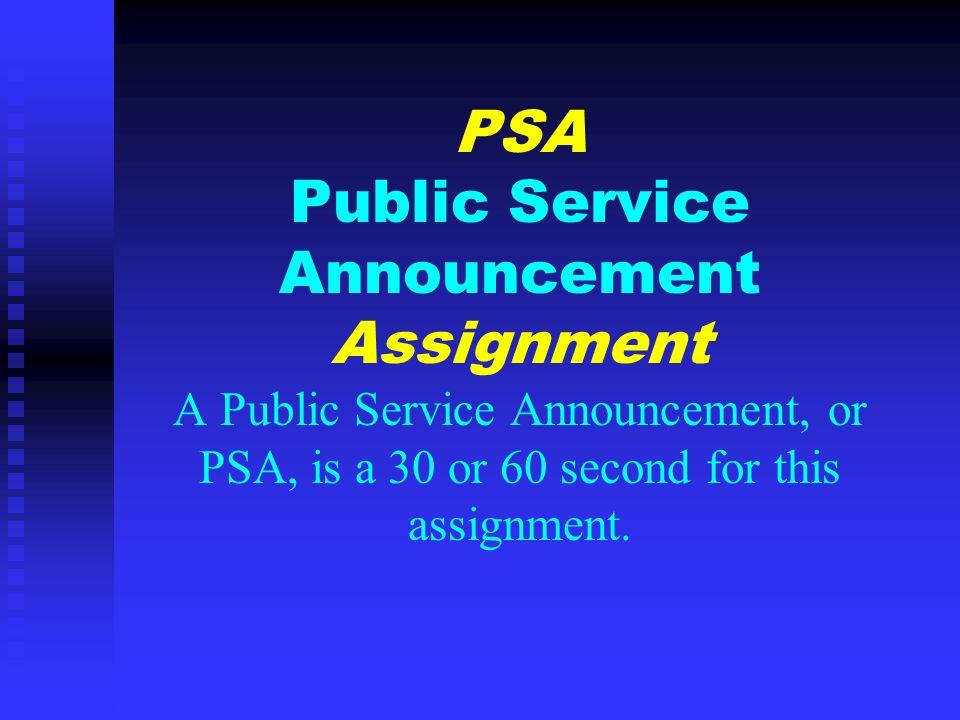 written public service announcement examples