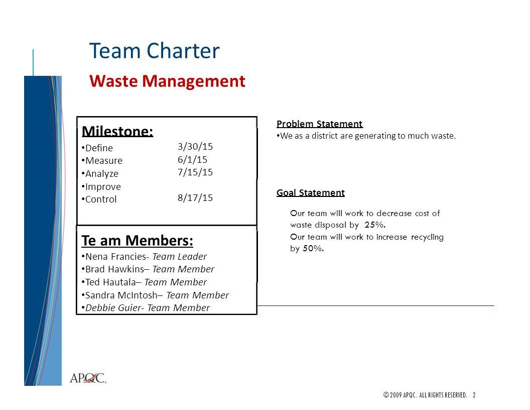 Waste Management Project Team Lead Nena Francies Team