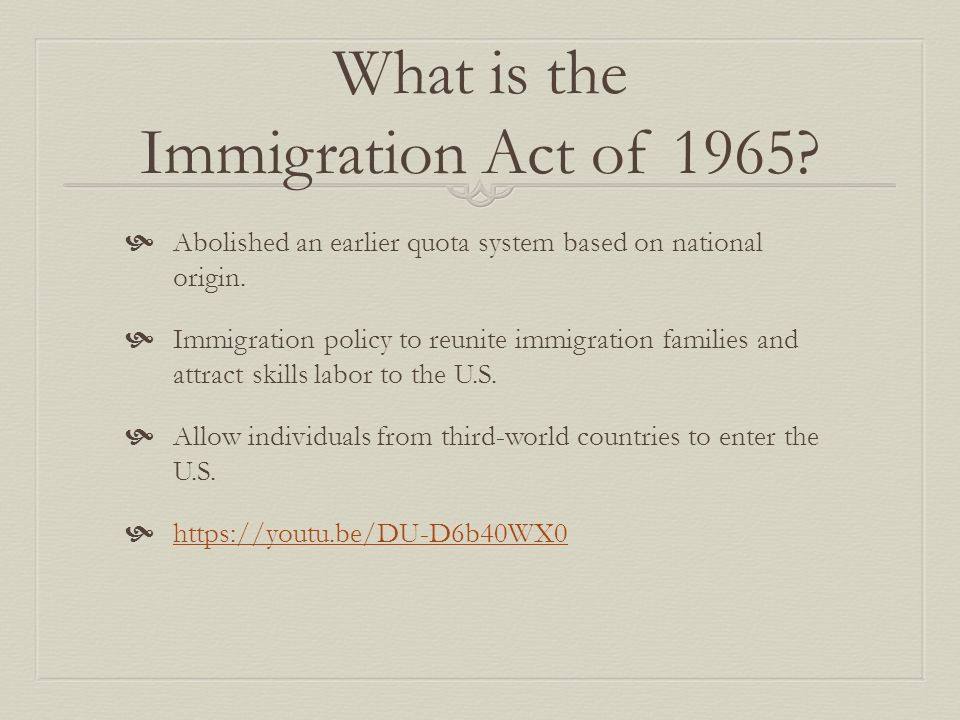 Immigration Act Hart Cellar Act Of 1965 By Jenn Saelio Anthony