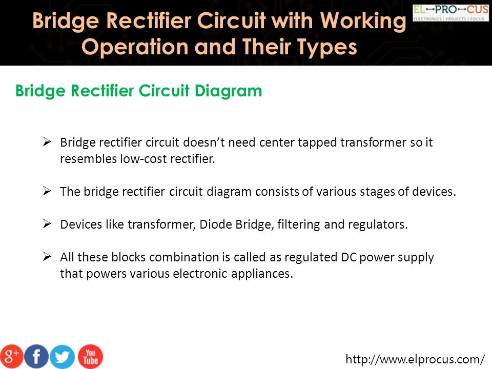 Circuit Diagram For Bridge Rectifier | Bridge Rectifier Circuit With Working Operation And Their Types
