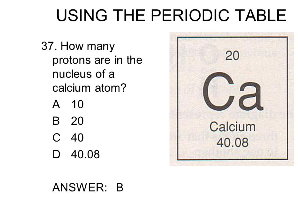 Standard 3f students know how to use the periodic table to identify using the periodic table 37 how many protons are in the nucleus of a calcium urtaz Choice Image