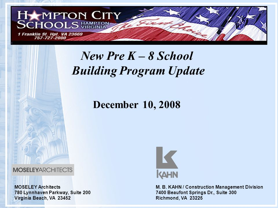 New Pre K 8 School Building Program Update December 10 2008 M B