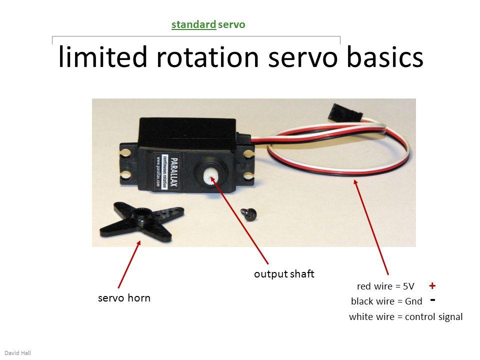 Limited rotation servo basics David Hall output shaft servo horn red ...