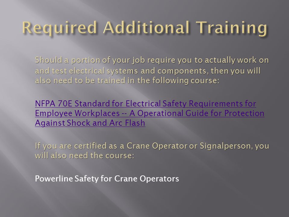 The OSHA e-tool electrical safety presentation was used to create ...