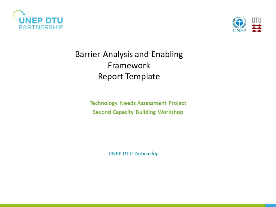Barrier Analysis and Enabling Framework Report Template Technology ...