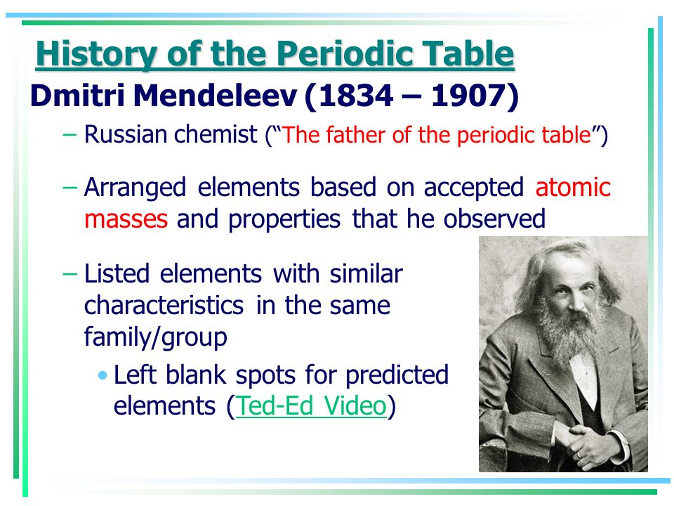 X Unit 10 The Periodic Table History Of The Periodic Table Antoine