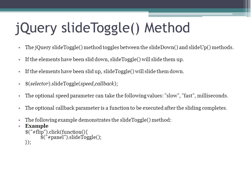 Slide toggle animation in jquery.