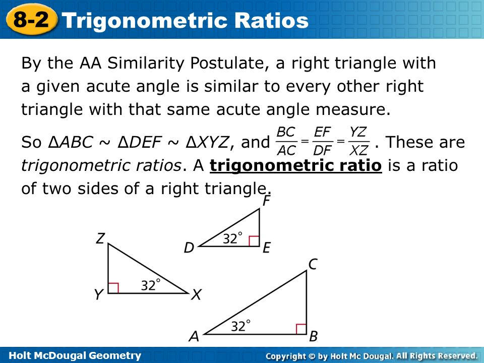 holt geometry 8-2 problem solving trigonometric ratios