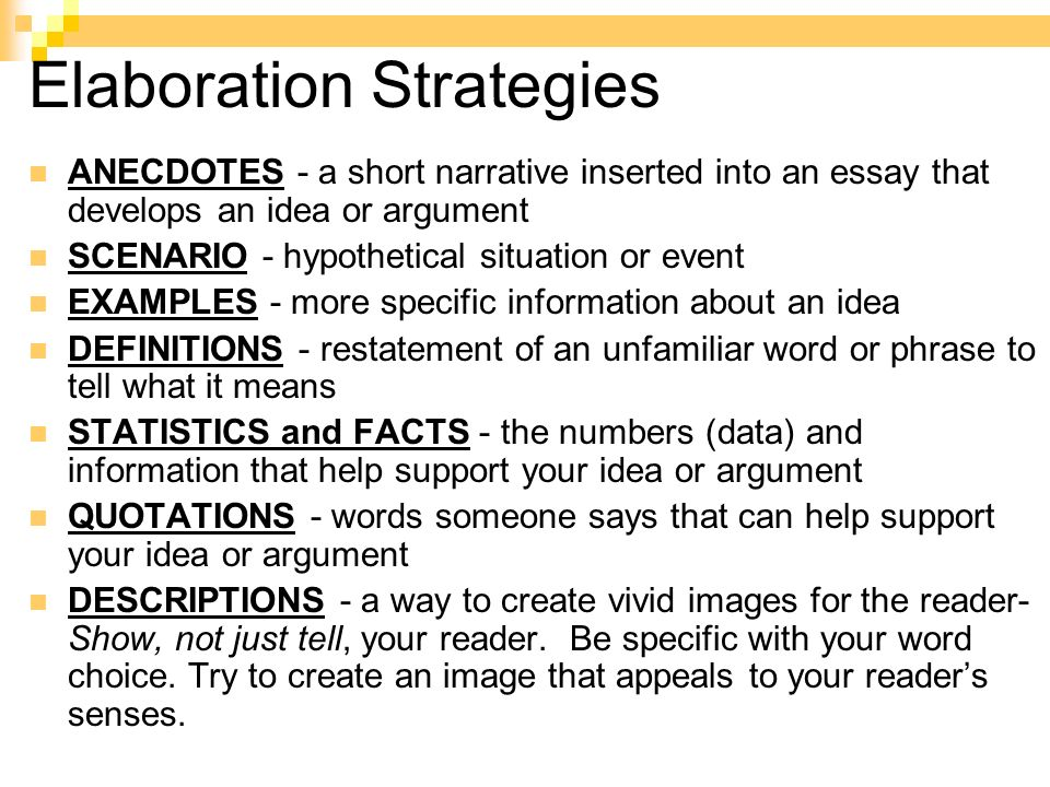 strategies for writing definition