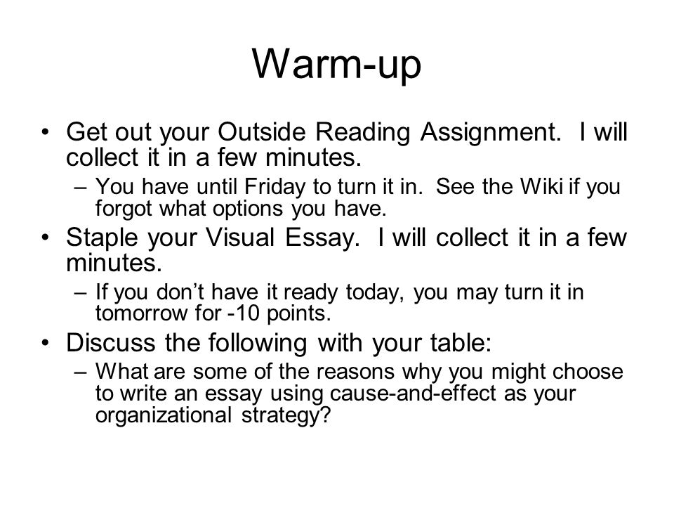 cause and effect essay assignment The cause and effect essay outline is going to serve you as a guide for the rest of the paper it will help you to stay on track and include all the ideas you have initially pinned down this paper is commonly written in a 5 paragraph style , but it allows a variation.