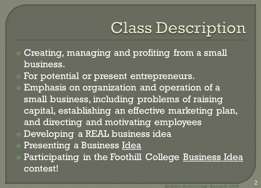 Ben Dubin Foothill College Business
