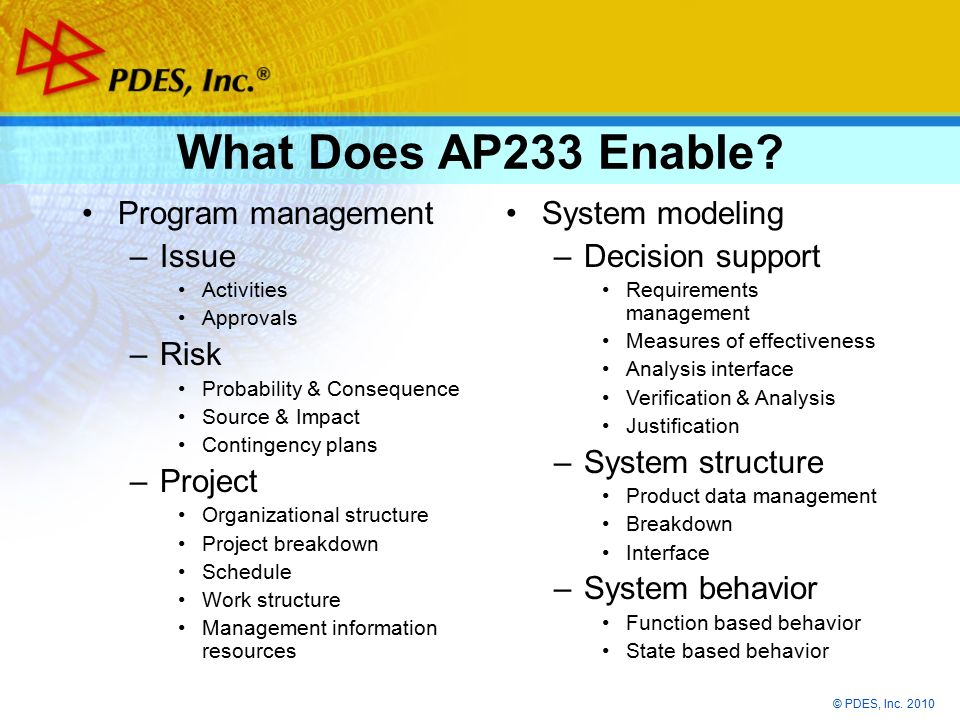 © PDES, Inc. 2010 What Does AP233 Enable.