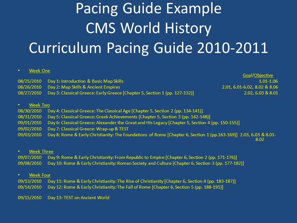 What is a pacing guide definition of pacing guides how are pacing pacing guide example cms world history curriculum pacing guide week one goalobjective week one gumiabroncs Image collections