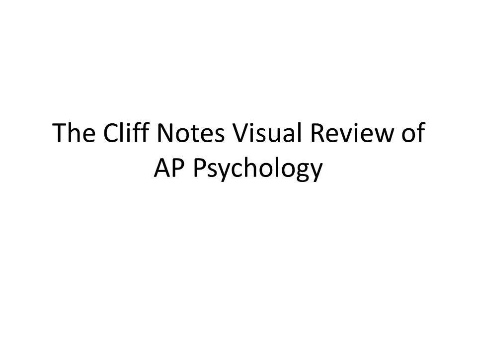 The Cliff Notes Visual Review of AP Psychology. - ppt download
