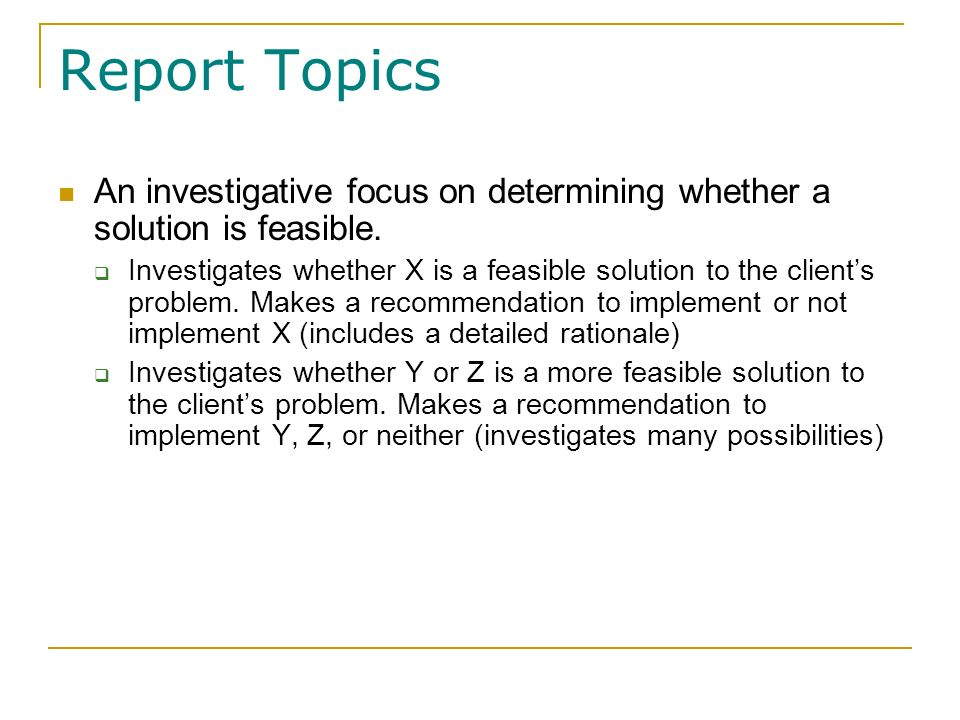 recommendation report topics