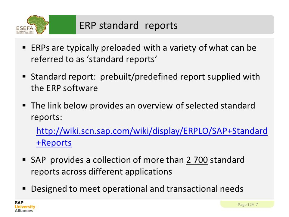 SAP SE ZR Reporting Abstract This unit focuses on different