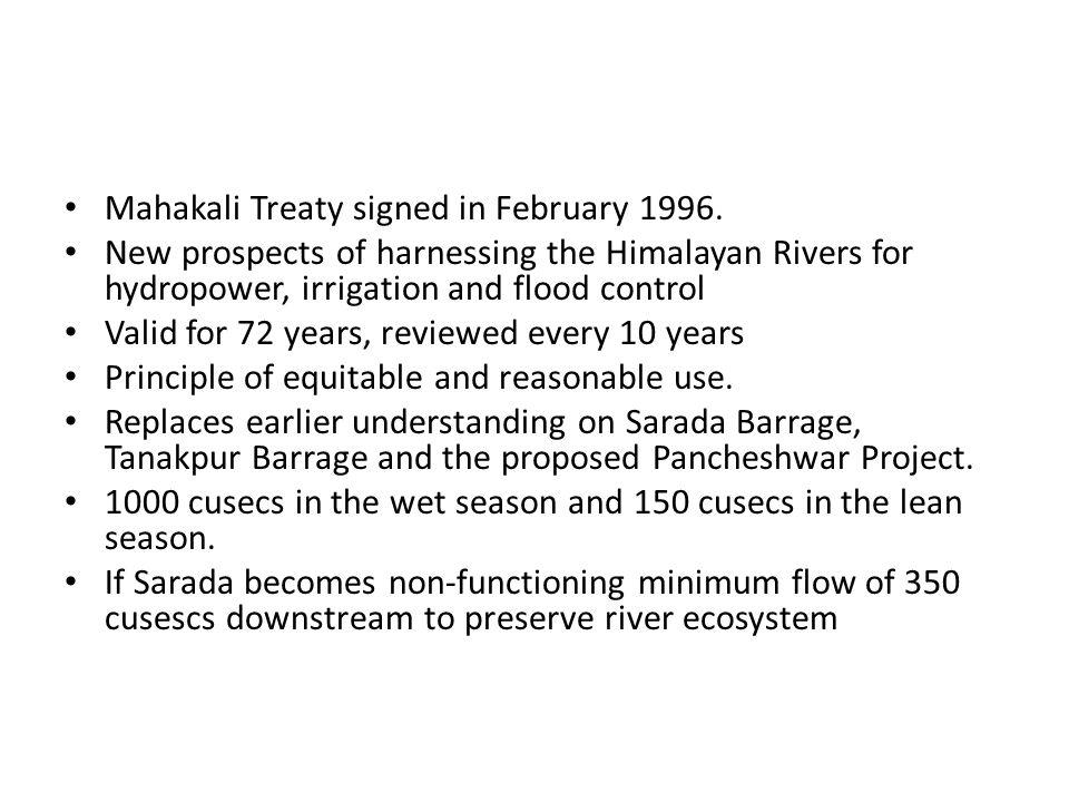 Mahakali  Sarada Agreement 1920 sharing of the Mahakali River India