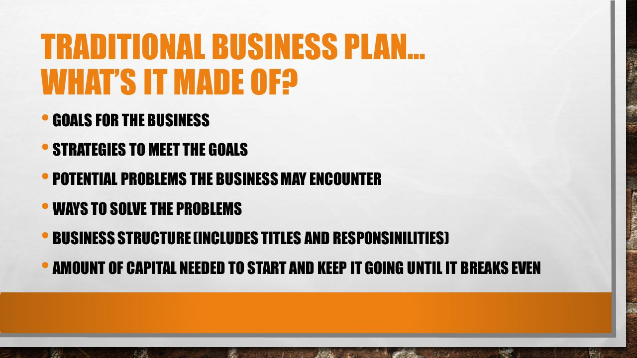 e business plan vs traditional business plan