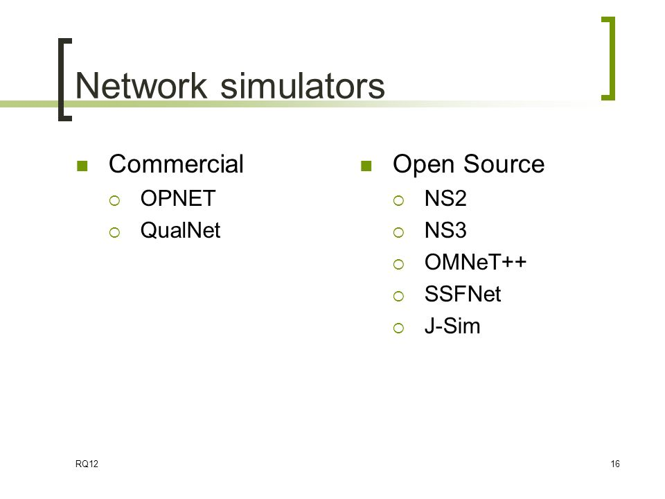 7  Network Simulation Network Performance and Quality of Service