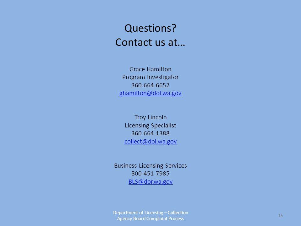 Washington State Collection Agency Board: Regulatory Process