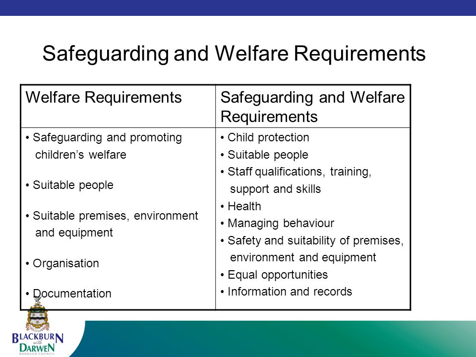 general welfare requirements