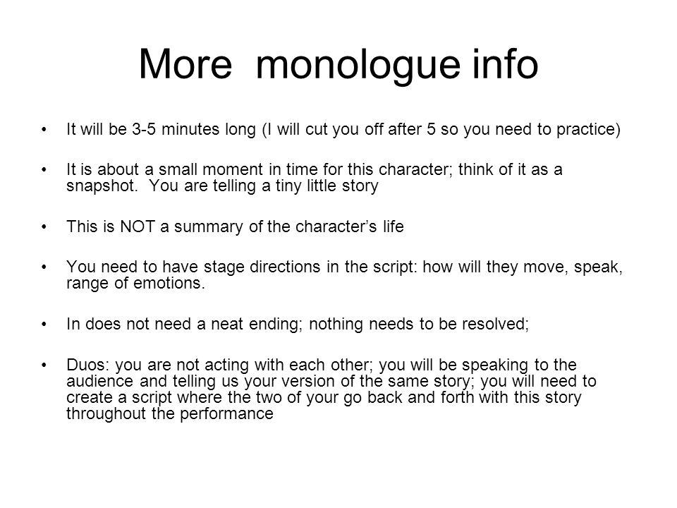 Your monologue it will be a script that will include an introduction more monologue info it will be 3 5 minutes long i will cut you ccuart Images