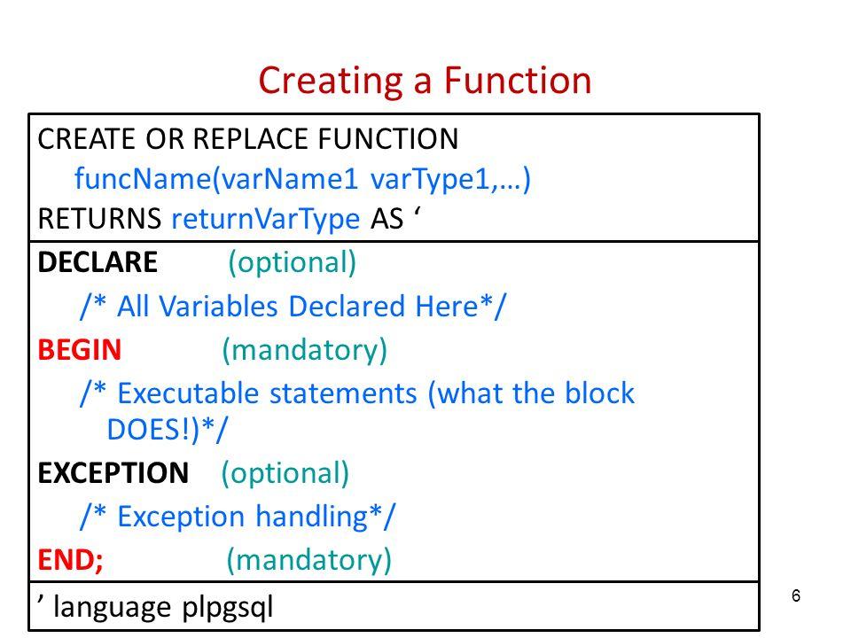 Programming in postgreSQL with PL/pgSQL