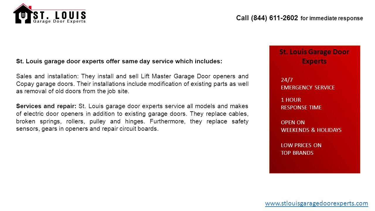 Call 844 For Immediate Response St Louis Garage Door Experts 1