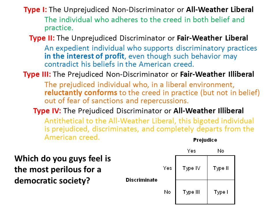Mertons typology of prejudice and discrimination robert merton a.