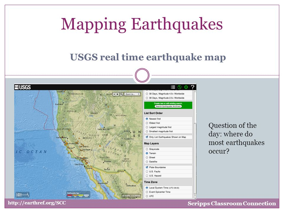 Mapping Earthquakes Scripps Classroom Connection Usgs Real Time