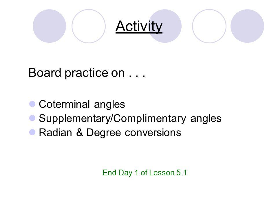 Trigonometry 51 Radian Degree Measure Trigonometry Vocabulary 1