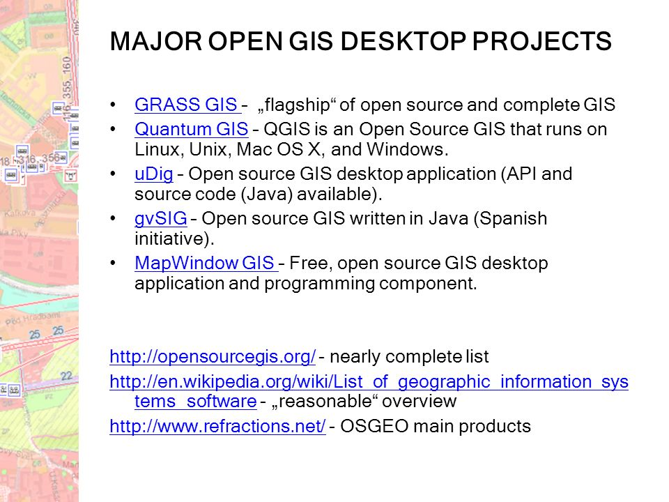 GIS software overview GIS/CAD5  OPEN SOURCE COMMERCIAL DESKTOP WEB