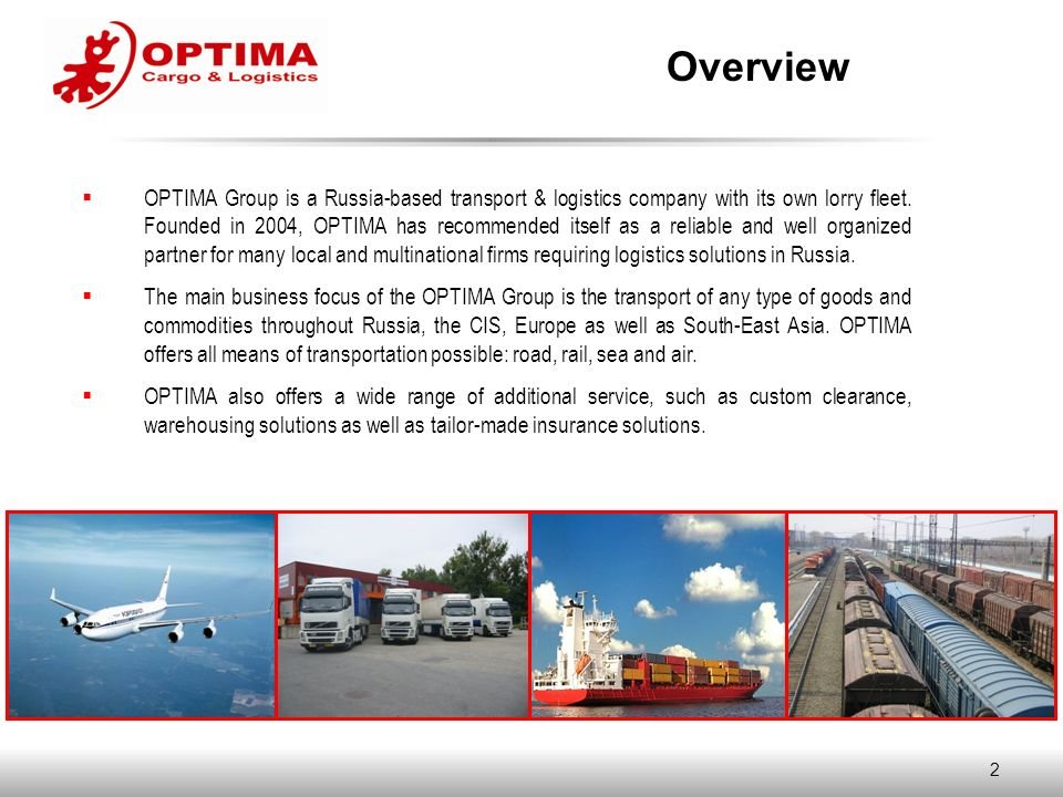 Moscow March 2010 CORPORATE PRESENTATION  2  OPTIMA Group