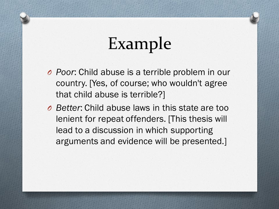 Child Abuse Thesis Statement