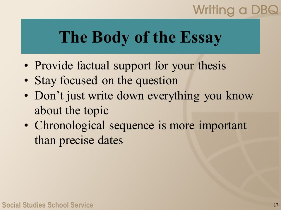 Writing A Dbq Ap  Us History  What Is A Dbq An Essay    The Body Of The Essay Provide Factual