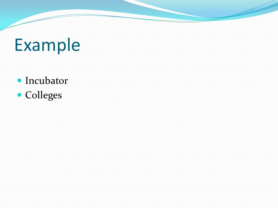 Example Incubator Colleges